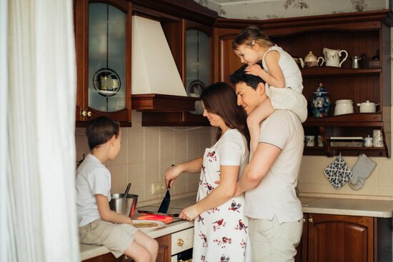 Parents Cooking With Stepchildren